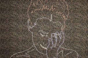 Sin título, 2007 Bordado sobre tela estampada 100 x 100 cm